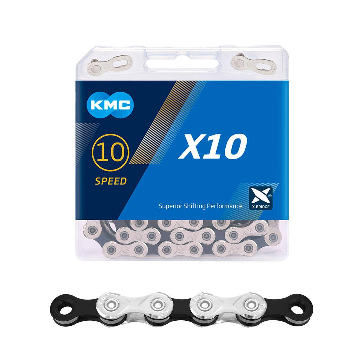 """Ketju 10-v KMC X10 Silver/Black, 1/2 x 11/128"""", 114L"""