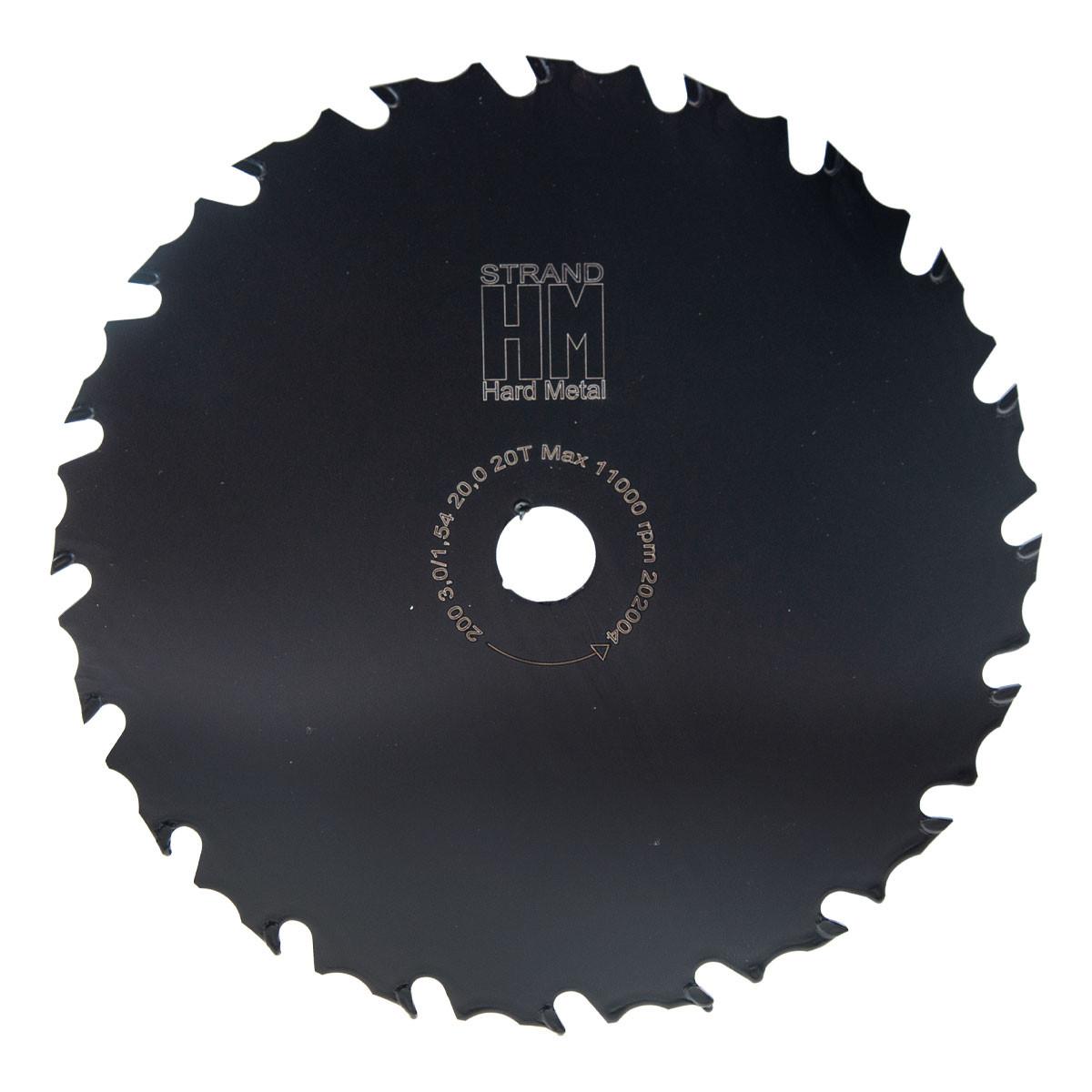 Raivaussahan terä 200 mm STRAND-HM: 25,4mm keskireikä, Z20, kovapala