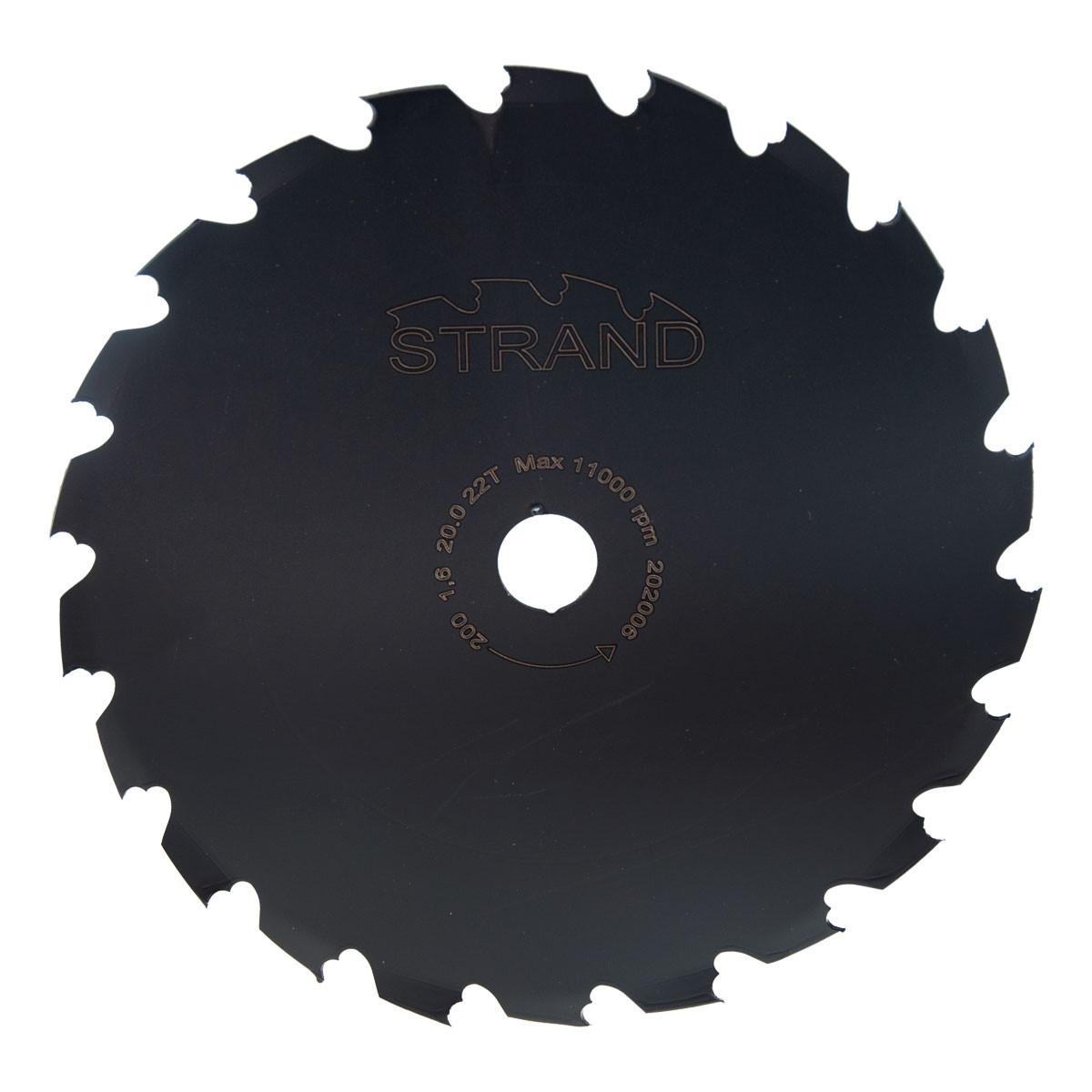 Raivaussahan terä 200 mm STRAND: 25,4mm keskireikä, Z22