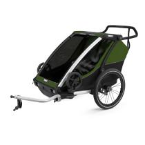 Lastenkuljetusperäkärry THULE Chariot Cab 2, Alu/ Cypress Green, Vihreä