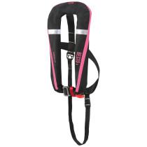 BESTO Comfort fit paukkuliivi 50+, 165N. Automaatti, valjailla Musta/Pinkki
