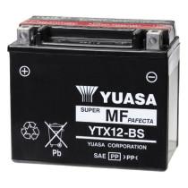 Akku YTX12-BS, YUASA 12V/10Ah, mukana happopatruuna